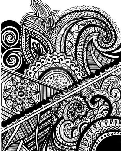 Line Art Design Abstract : Henna abstract line drawing print by viewfromtheedge on