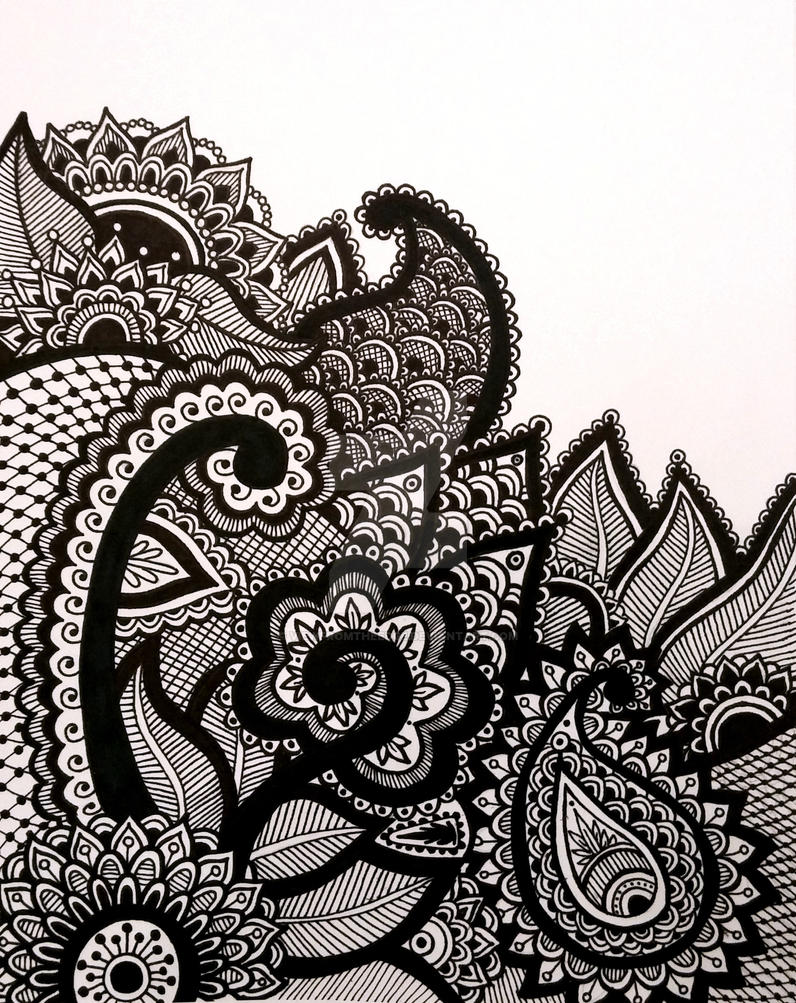 Line Art Prints : Henna zentangle abstract line drawing print by