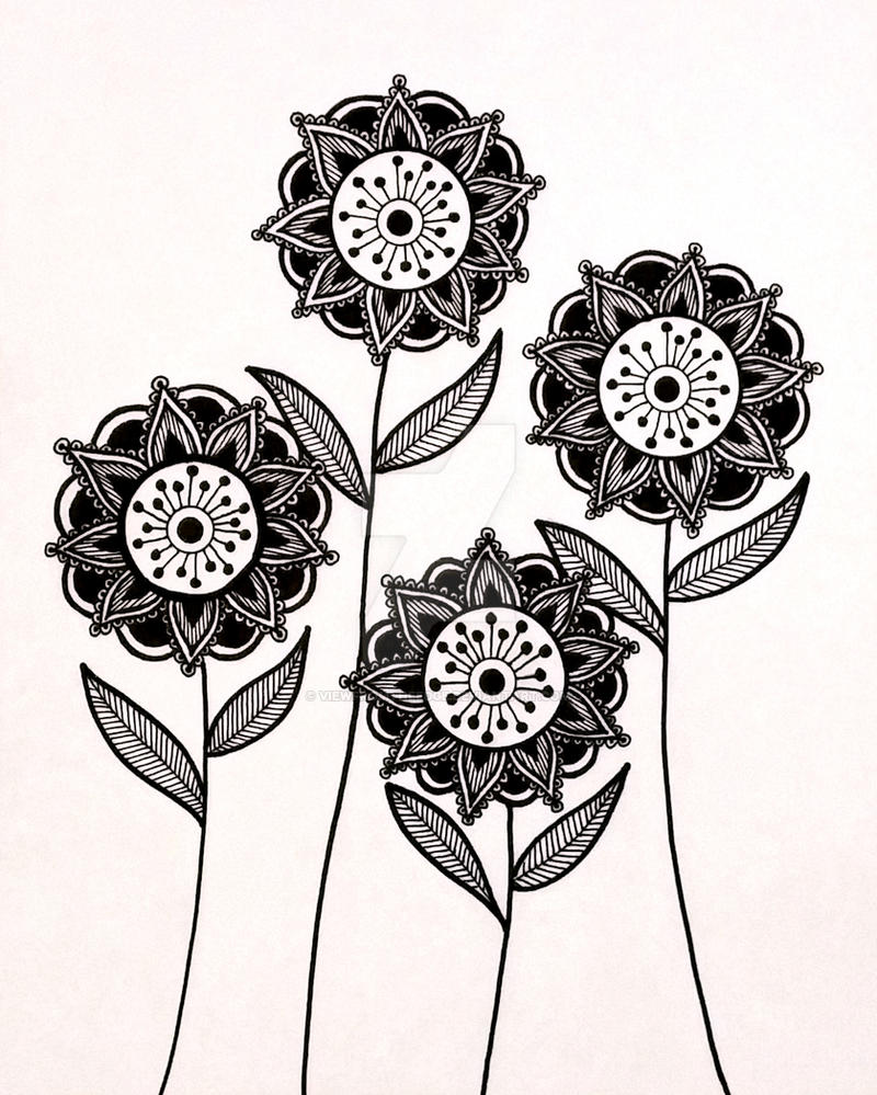 Abstract Line Drawing Flowers : Henna abstract line drawing print by viewfromtheedge on