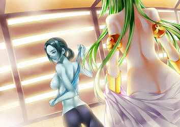 SSB Yuri 3 : WiiFit Girl x Palutena, bath fitness by Red-Eileen