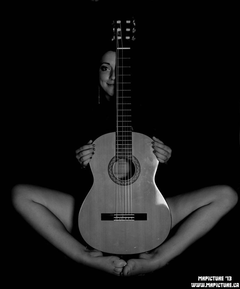 image Guitar and woman sharing