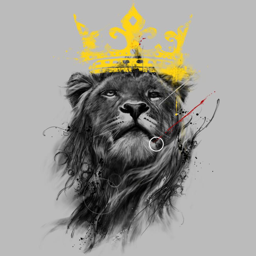 эскизы тату лев с короной - YouTube