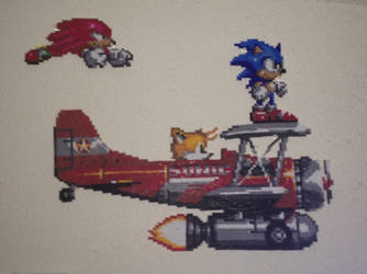 Sonic, Tails and Knuckles with biplane by nayrb00