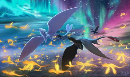 HTTYD Duo Aurora Flight by Blue4Eagle
