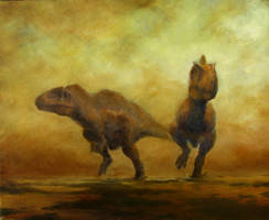 Acrocanthosaurus pair by rhill555