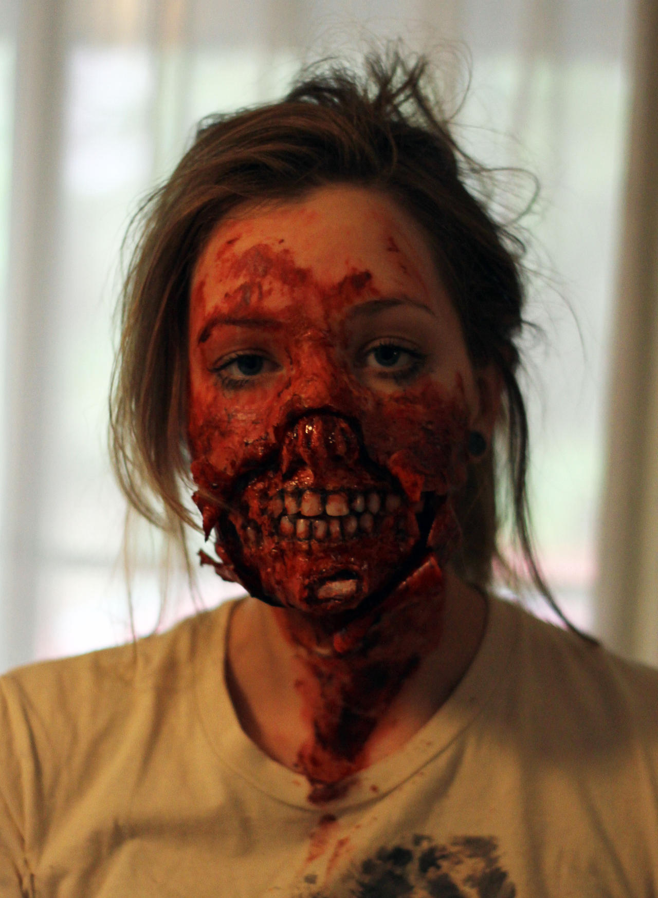 Ripped Mouth Prosthetic Applied by Freakmo-SFX