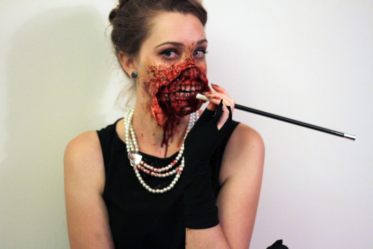 Audrey Hepburn Zombie (colour) by Freakmo-SFX