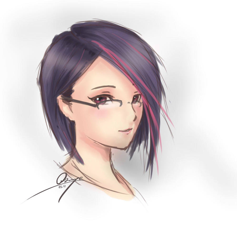Anime Characters Glasses : Female portrait glasses version by azinqe on deviantart
