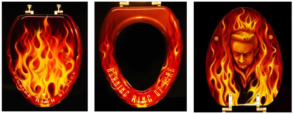 Burning Ring of Fire Toilet Seat Lid by hardart-kustoms