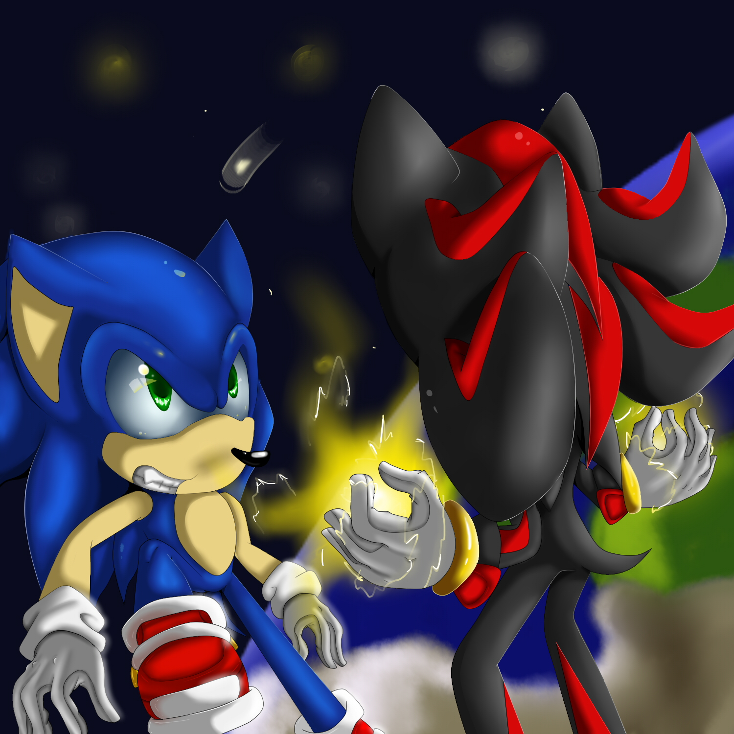 Shadow VS Sonic by rougeTbat