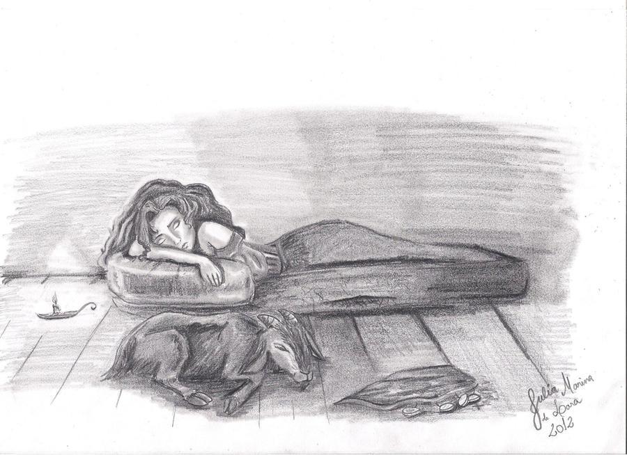 Esmeralda and djali sleeping by GypsyEsmeralda