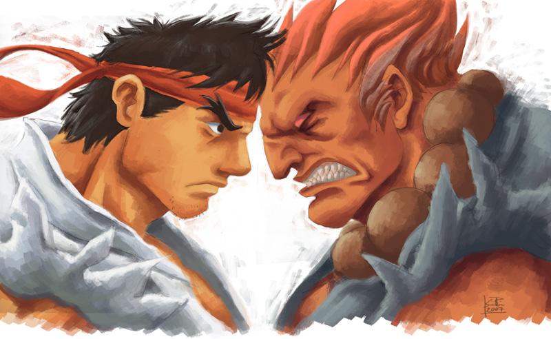SF: Ryu vs Akuma by ZEBES