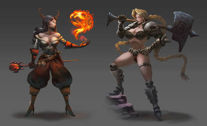 Sorceress and Warrior commissions