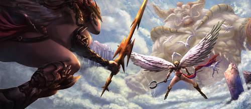 Angel chicks vs Evil Devil dude