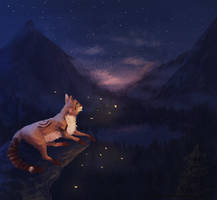 Night Lake - commission by Yessys
