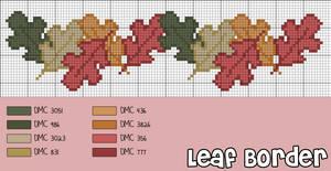 Cross-Stitch Pattern: Autumn Leaf Border by cathartic-dream