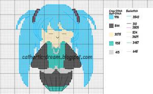 Miku Hatsune Kokeshi Cross-Stitch Pattern by cathartic-dream