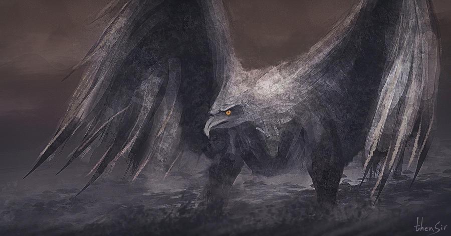 Stone Bird - speedpainting by thenSir
