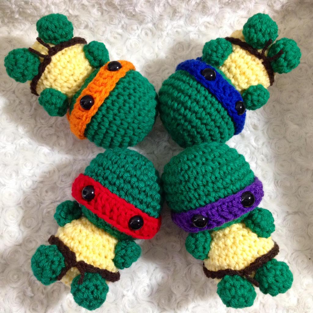 Ninja Turtle Crochet Amigurumi : Mini Ninja Turtle Crochet Amigurumi by StitchedLoveCrochet ...