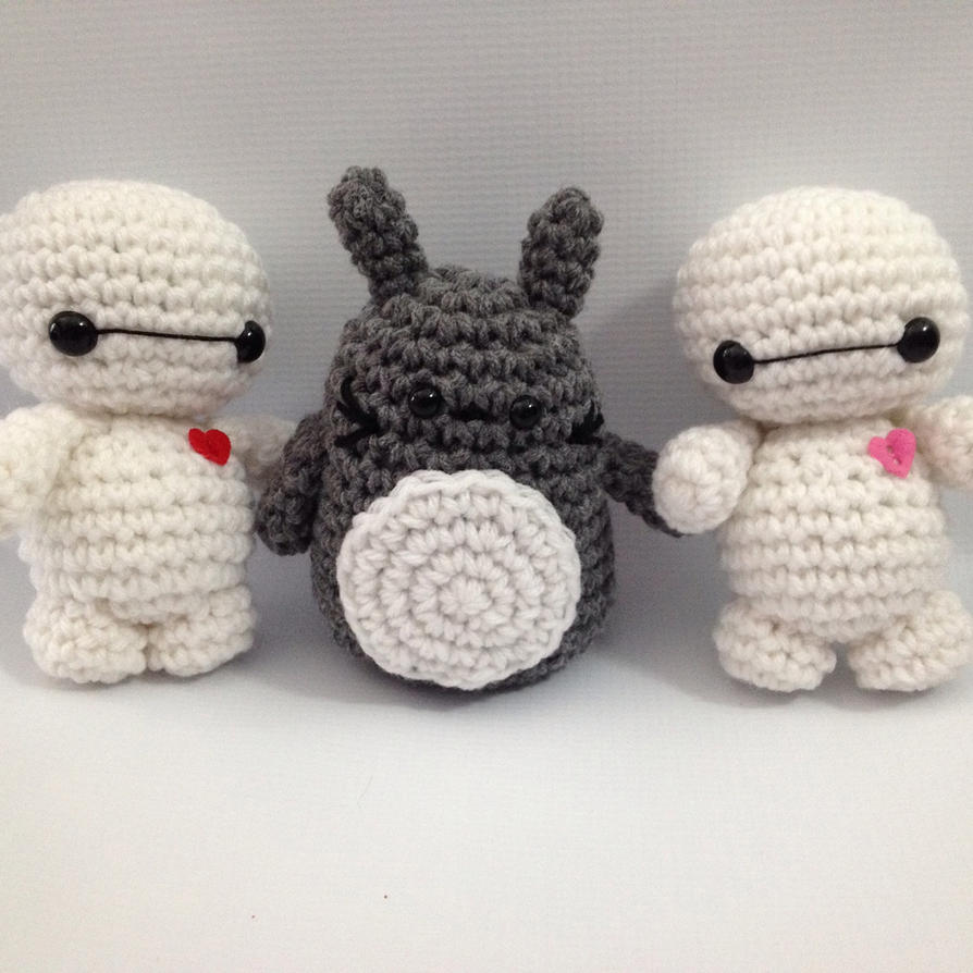 Free Amigurumi Wedding Couple Pattern : Baby Baymax and Totoro amigurumi by StitchedLoveCrochet on ...