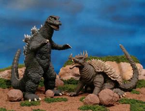 Godzilla and Anguirus by X-Plus