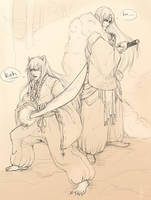 Inuyasha + Sesshoumaru sketch by janey-jane