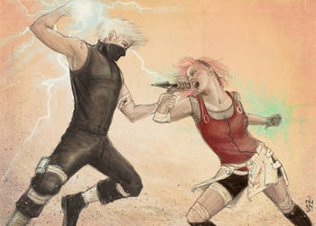 Kakashi and Sakura sparring by janey-jane