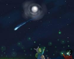marshall lee and fionna starry fireflies sky by XxblackchocochipXx