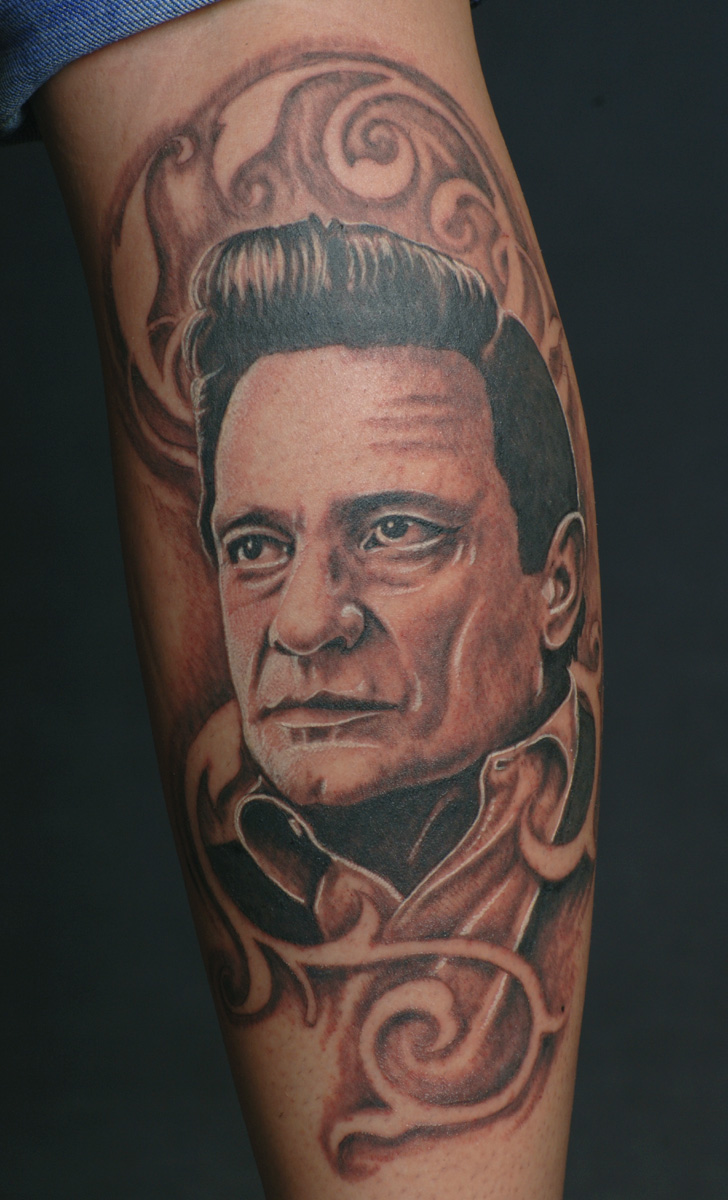 Tattoo: Johnny Cash portrait
