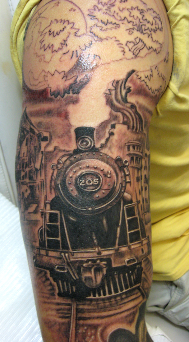 old train tattoo by catbones on deviantart. Black Bedroom Furniture Sets. Home Design Ideas