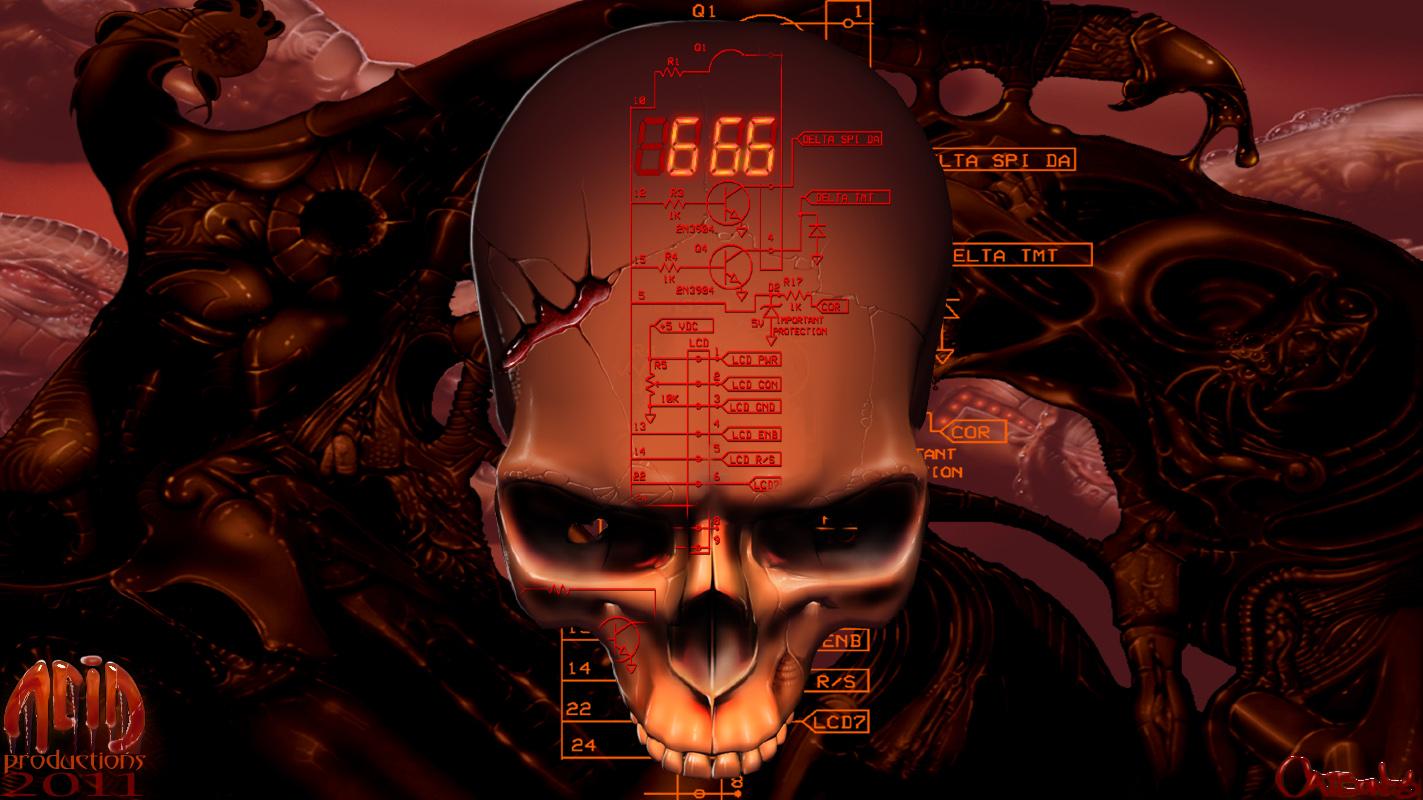 BioMechanical Skull WallPaper by catbones on DeviantArt