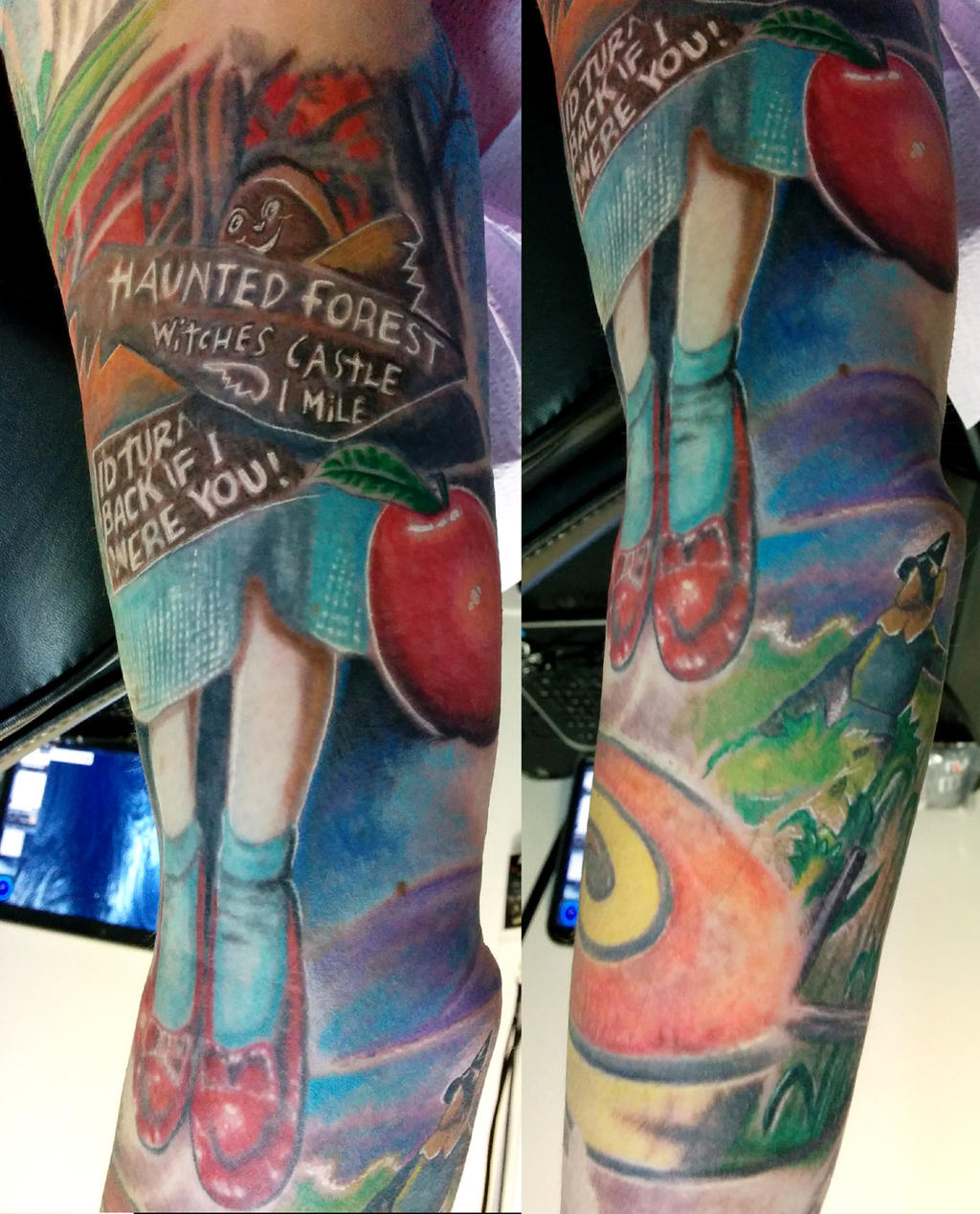 Wizard of Oz sleeve, inner arm work by catbones