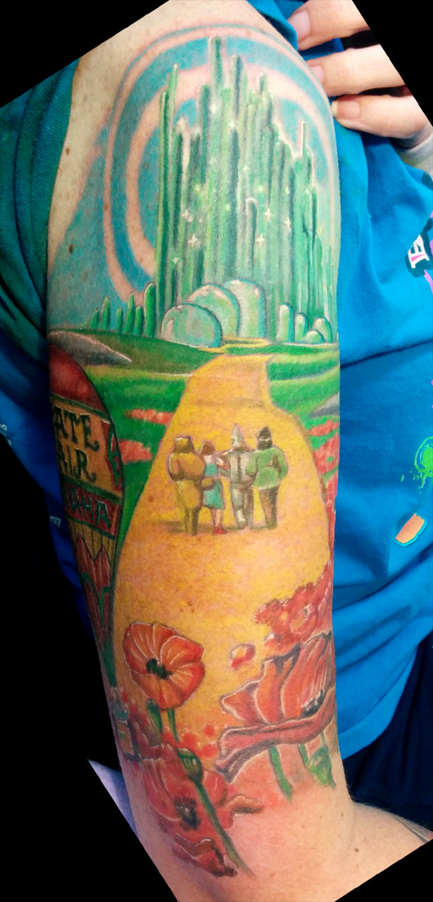 Wizard of Oz sleeve, outer arm work by catbones