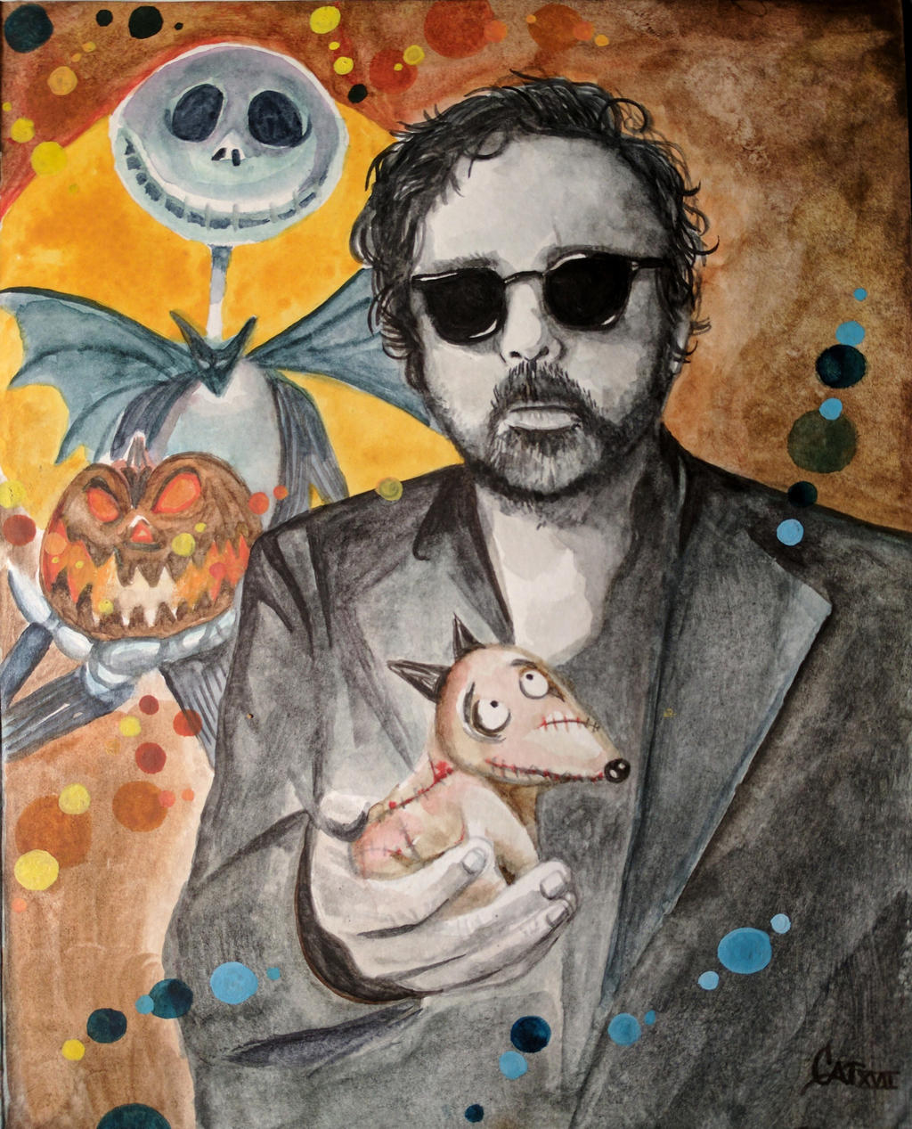 Tim Burton watercolor, Birthday Card by catbones