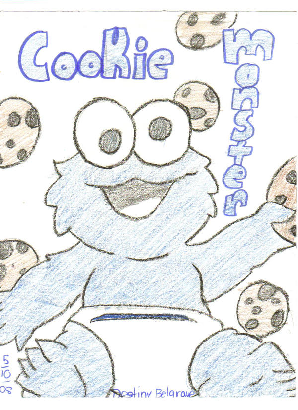 how to draw baby cookie monster