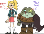 Amphibia- Mean Girl and Toad Dad by Jolibe