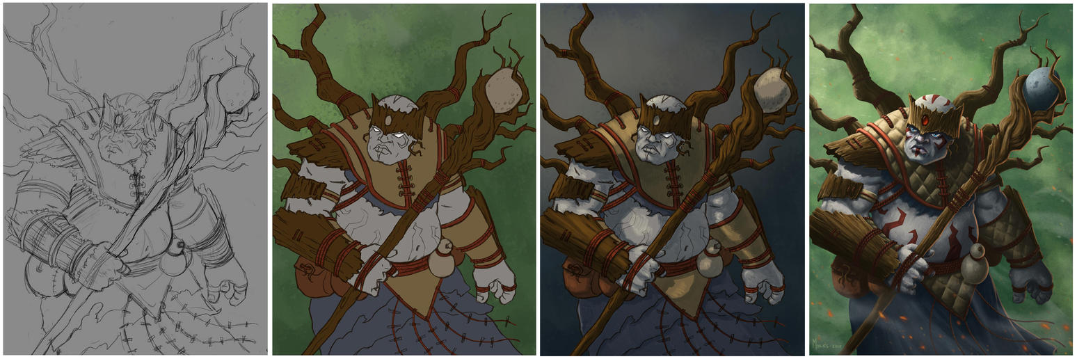 Shaman of the Wood - Process by mylesillustration