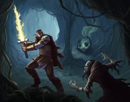 Cave Battle by mylesillustration