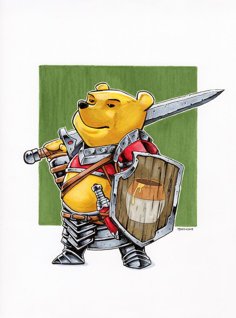 Winnie the Pooh, Fighter by mylesillustration