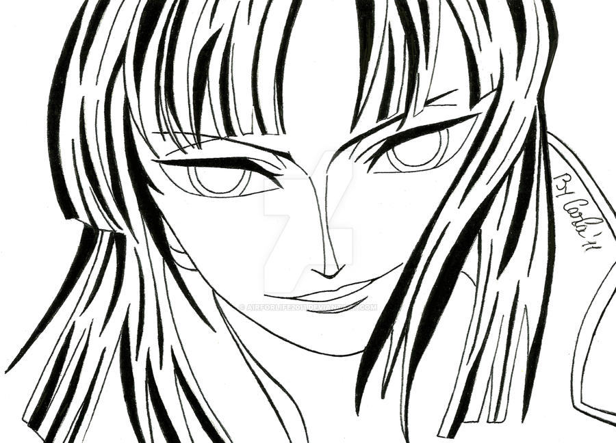Line Art Portrait : Nico robin s lineart portrait by airforlife on deviantart