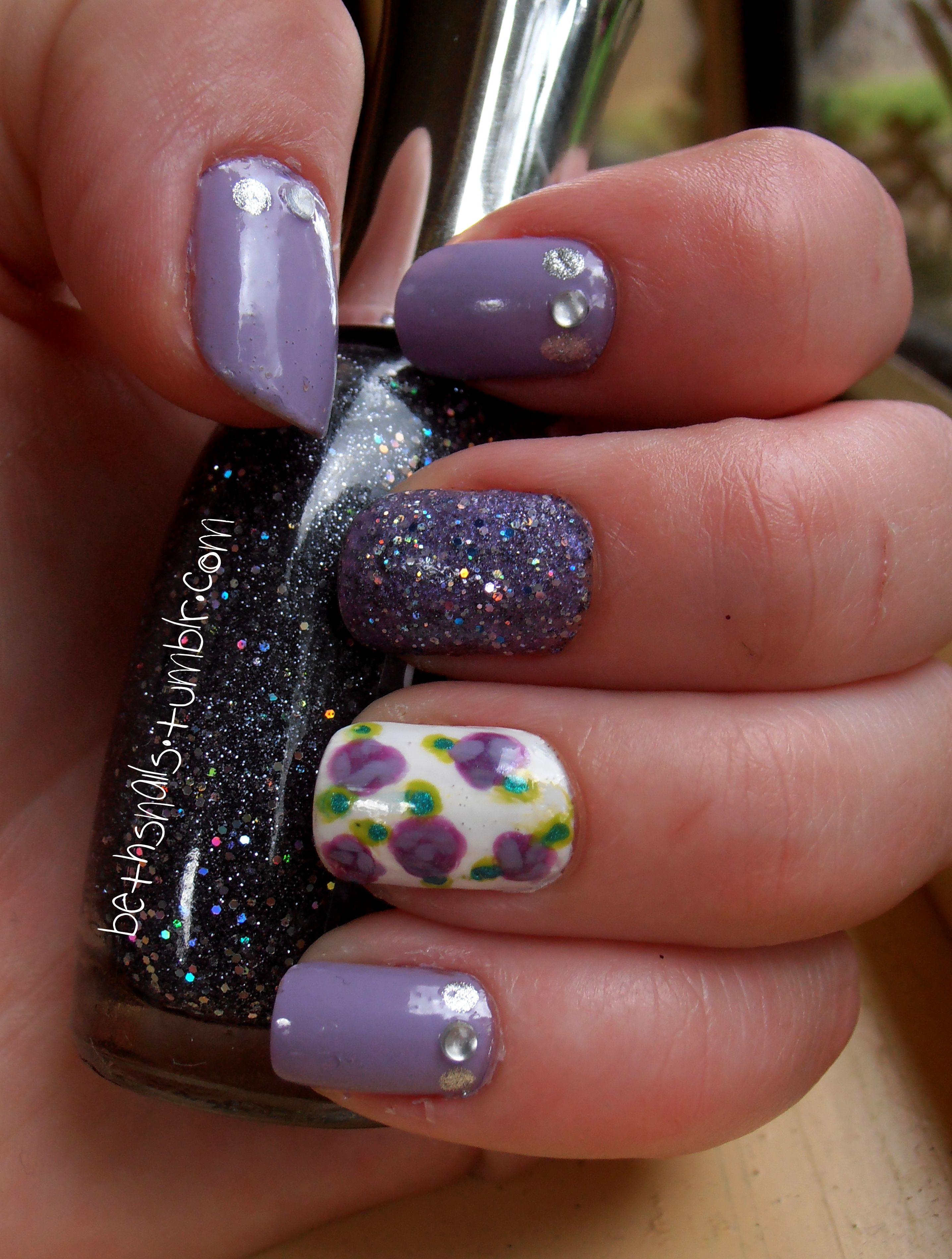 Nail Design Purple Silver