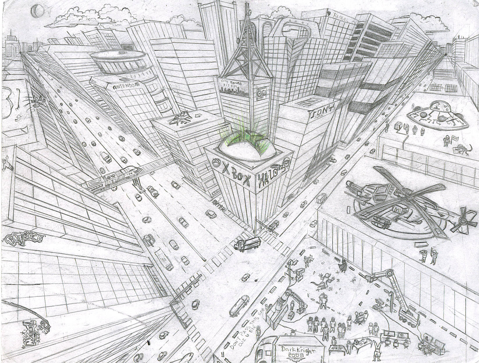 how to draw aa city