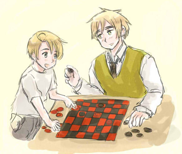 Big bro England and young America playing checkers by maybebaby83