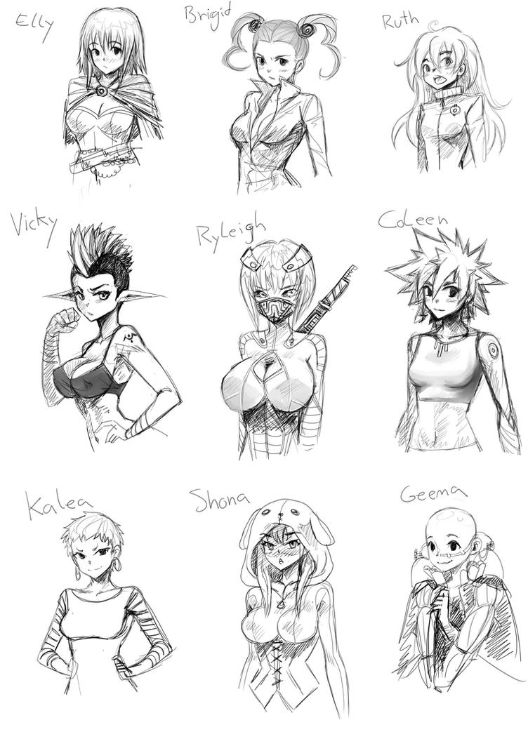 random female characters by opcrom