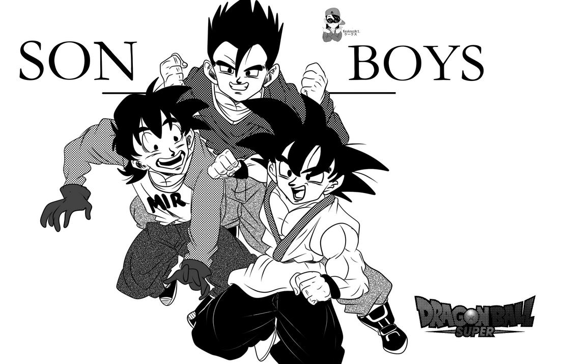 Gohan y Goku y Goten - Son Boys by KeyknozArt