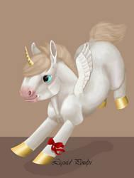 Art trade : Winged chibi Unicorn by liquidpoulpi