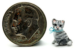TINY FURRED KITTEN CAT OOAK by WEE-OOAK-MINIATURES