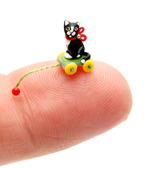 TUXEDO KITTEN CAT PULL TOY by WEE-OOAK-MINIATURES