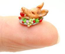 fingertip PIG HEAD PLATTER by WEE-OOAK-MINIATURES