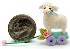 FURRED WOOLLY SHEEP by WEE-OOAK-MINIATURES